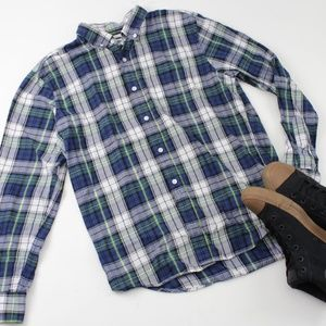 Old Navy Slim Fit Green & Navy Plaid Button Down